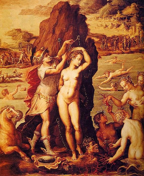 Giorgio Vasari: Perseo e Andromeda Secondo Ovidio il corallo nacque dal sangue di Medusa decapitata (in basso a destra nel quadro)